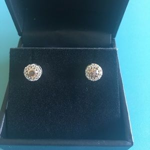 White & chocolate diamond stud earrings LeVian